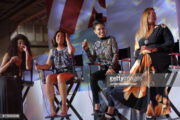 Tiffany Haddish Regina Hall Jada Pinkett Smith and Queen Latifah from the movie Girls Trip speak during the Essence Music Festival at the Ernest N...