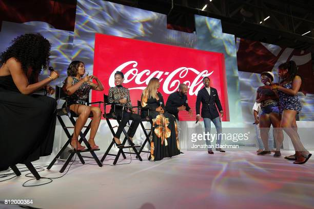Tiffany Haddish Regina Hall Jada Pinkett Smith and Queen Latifah from the movie Girls Trip judge a competition during the Essence Music Festival at...