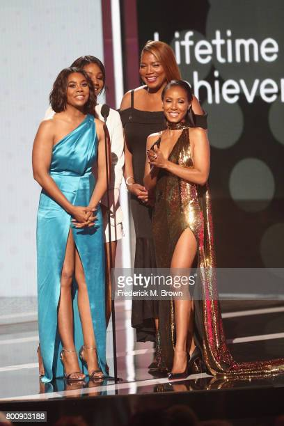 Tiffany Haddish Regina Hall Queen Latifah and Jada Pinkett Smith speak onstage at 2017 BET Awards at Microsoft Theater on June 25 2017 in Los Angeles...