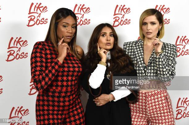Tiffany Haddish Salma Hayek and Rose Byrne attend the Like A Boss Photo Call at the Whitby Hotel on December 14 2019 in New York City