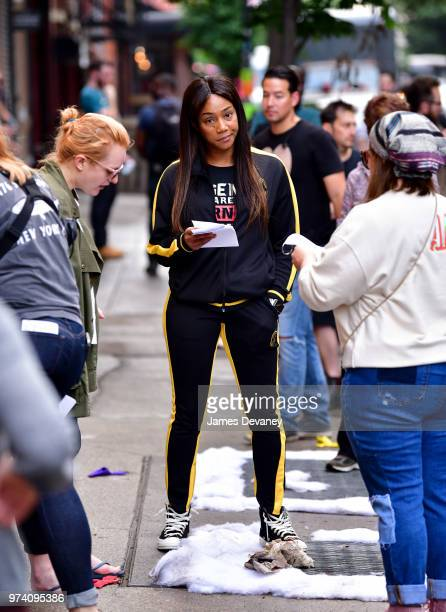 Tiffany Haddish seen on location for 'The Kitchen' in the East Village on June 13 2018 in New York City