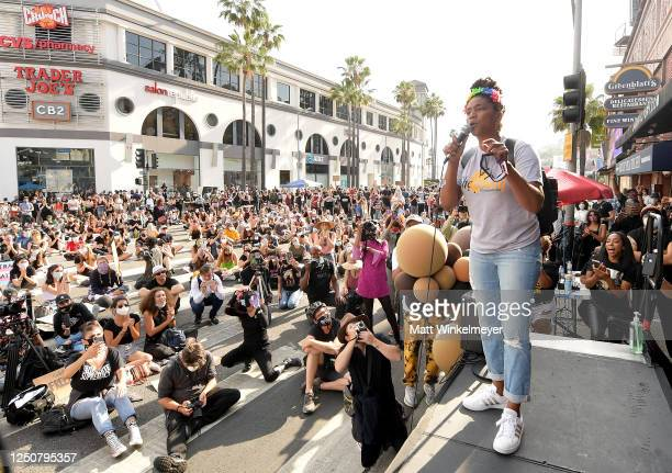 Tiffany Haddish speaks onstage at Comic and Hollywood Communities Coming Together to Mark Juneteenth Anniversary of Freedom on June 19 2020 in West...