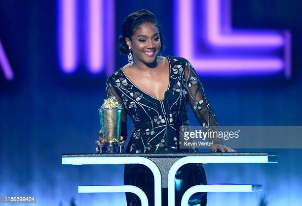 Tiffany Haddish speaks onstage during the 2019 MTV Movie and TV Awards at Barker Hangar on June 15 2019 in Santa Monica California