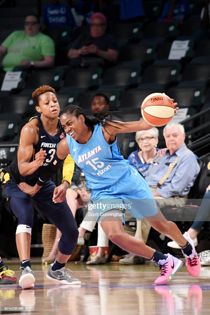 Tiffany Hayes #15 of the Atlanta Dream handles the ball against the Indiana Fever on June 14, 2018 at Hank McCamish Pavilion in Atlanta, Georgia.