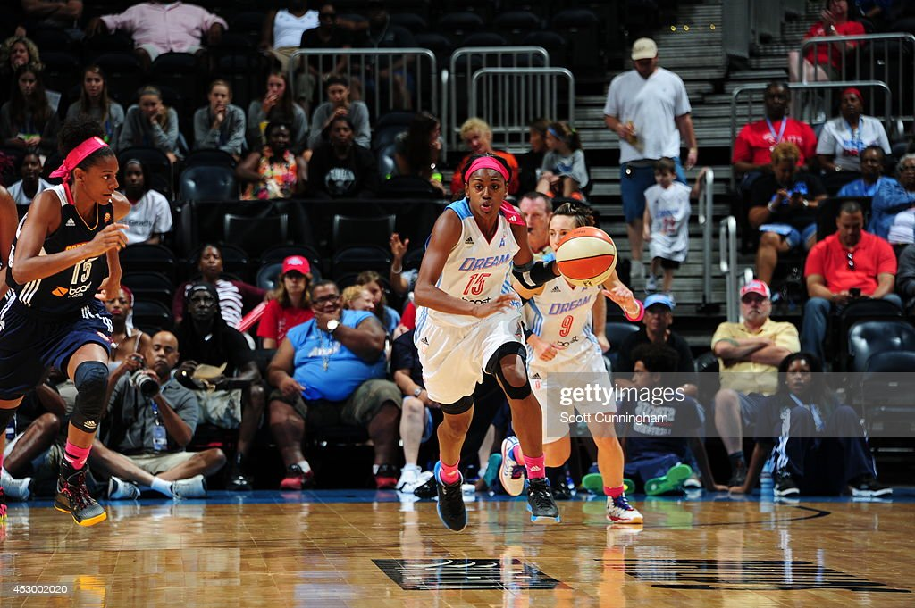 Tiffany Hayes #15 of the Atlanta Dream handles the ball against the Connecticut Sun on July 29, 2014 at Philips Arena in Atlanta, Georgia.