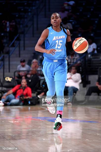 Tiffany Hayes of the Atlanta Dream handles the ball during the game against the Las Vegas Aces on August 07 2018 at McCamish Pavilion in Atlanta...