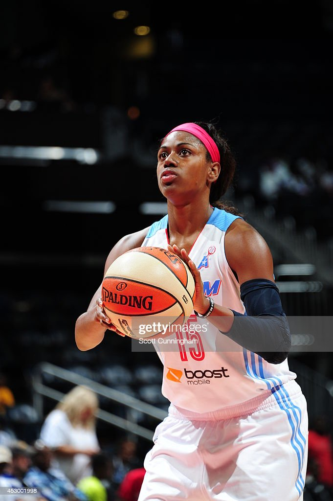 Tiffany Hayes #15 of the Atlanta Dream shoots a free throw against the Connecticut Sun on July 29, 2014 at Philips Arena in Atlanta, Georgia.