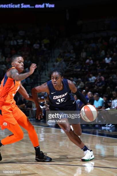 Jessica Breland and Tiffany Hayes of the Atlanta Dream hug after the game against the Connecticut Sun on JULY 17 2018 at the Mohegan Sun Arena in...