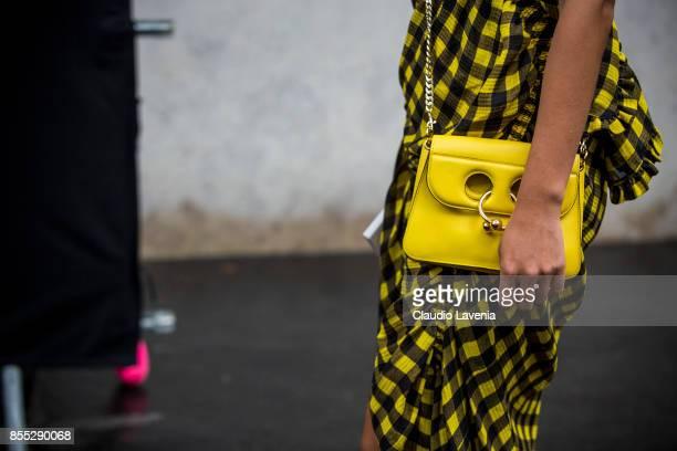 Tiffany Hsu bag detail is seen before the Chloe fashion show during Paris Fashion week Womenswear SS18 on September 28 2017 in Paris France