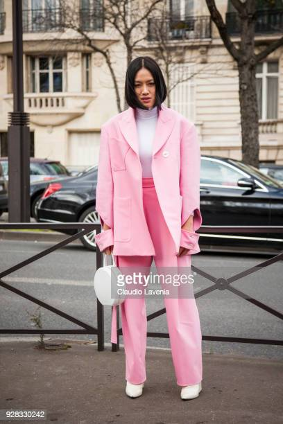 Tiffany Hsu is seen in the streets of Paris before the Miu Miu show during Paris Fashion Week Womenswear Fall/Winter 2018/2019 on March 6 2018 in...