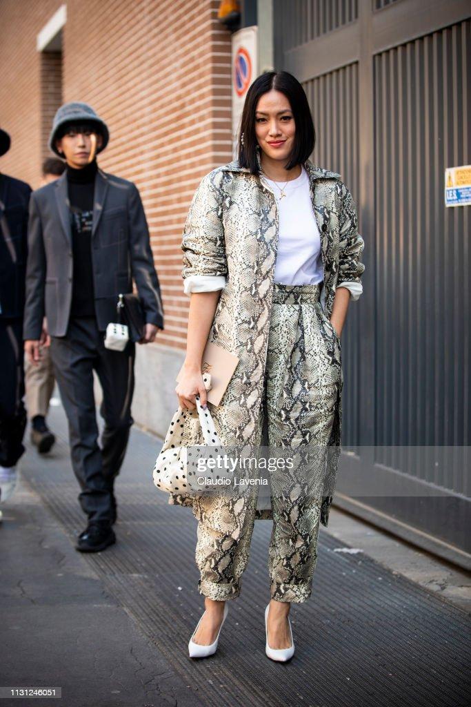 Street Style - Day 2: Milan Fashion Week Autumn/Winter 2019/20 : Foto di attualità