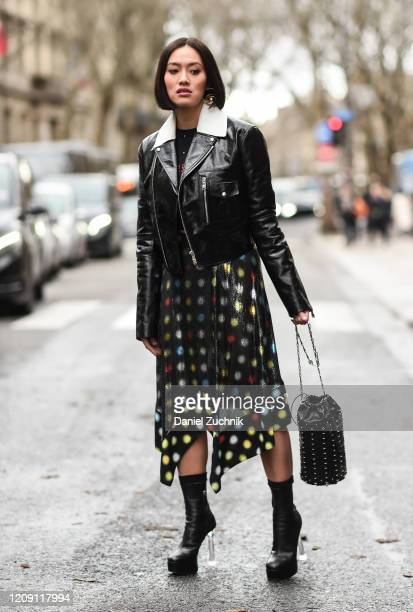 Tiffany Hsu is seen wearing a Paco Rabanne outfit outside the Paco Rabanne show during Paris Fashion Week AW20 on February 27 2020 in Paris France