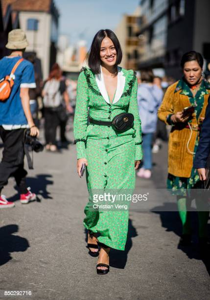 Tiffany Hsu wearing a green dress Gucci belt bag is seen outside Gucci during Milan Fashion Week Spring/Summer 2018 on September 20 2017 in Milan...