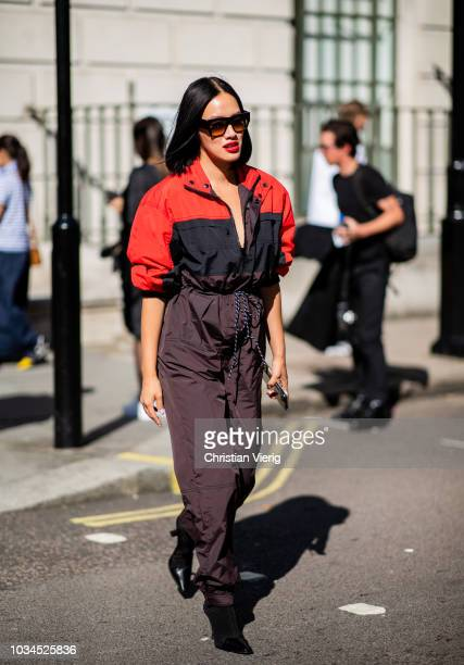 Tiffany Hsu wearing belted overall is seen outside Delpozo during London Fashion Week September 2018 on September 16 2018 in London England