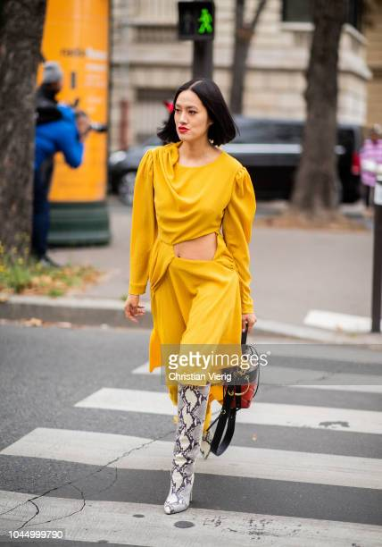 Tiffany Hsu wearing yellow dress boots with snake print is seen outside Miu Miu during Paris Fashion Week Womenswear Spring/Summer 2019 on October 2...