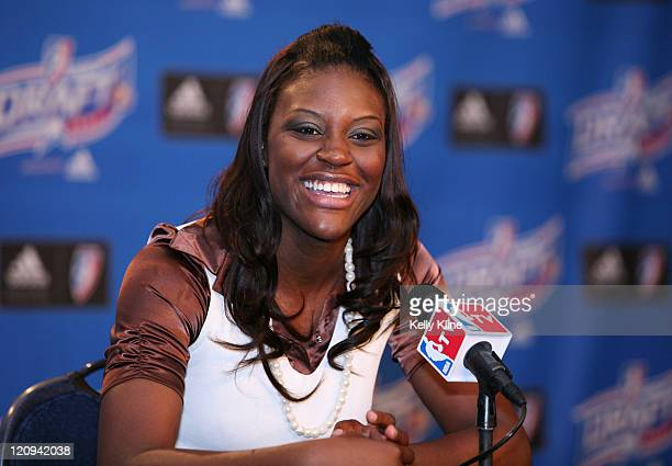 Tiffany Jackson of Texas is selected by the New York Liberty as the fifth over all pick in the Draft during the 2007 WNBA Draft at the Renissance...