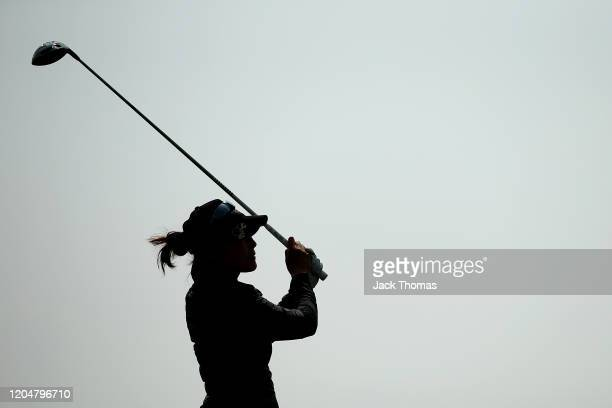 Tiffany Joh of the United States tees off on the 10th Beach Course hole during Day Three of the ISPS Handa Vic Open at 13th Beach Golf Club on...