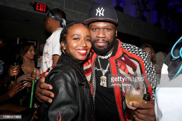 Tiffany Lighty and 50 Cent attend Barry Mullineaux's birthday party hosted by 50 Cent on January 14, 2021 in Miami, Florida.