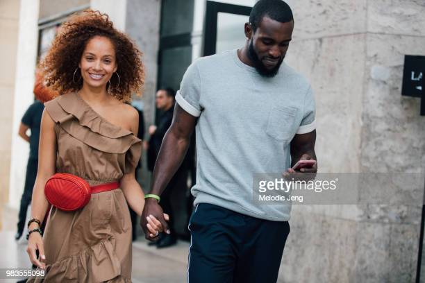 Tiffany Luce and Kam Chancellor NFL Football player exit the Lanvin show during Paris Mens Fashion Week Spring/Summer 2019 on June 24 2018 in Paris...