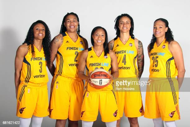 Tiffany Mitchell, Erlana Larkins, Briann January, Candice Dupree, and Marissa Coleman poses for a portrait during Media Day at Bankers Life...