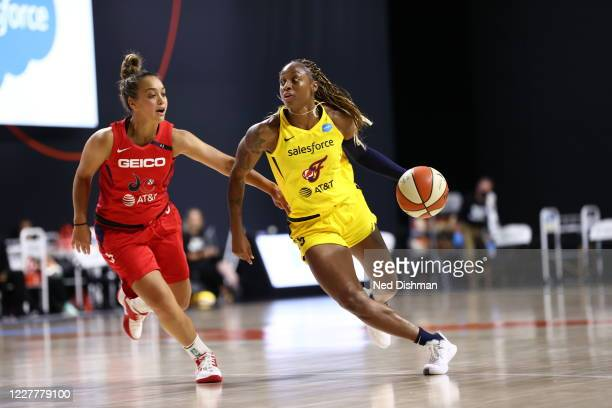 Tiffany Mitchell of Indiana Fever handles the ball against the Washington Mystics on July 25, 2020 at Feld Entertainment Center in Palmetto, Florida....