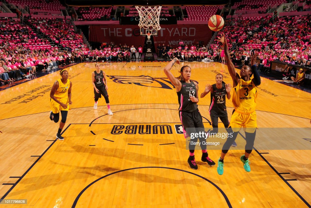 Tiffany Mitchell #3 of the Indiana Fever goes to the basket against the Phoenix Mercury on August 10, 2018 at Talking Stick Resort Arena in Phoenix, Arizona.