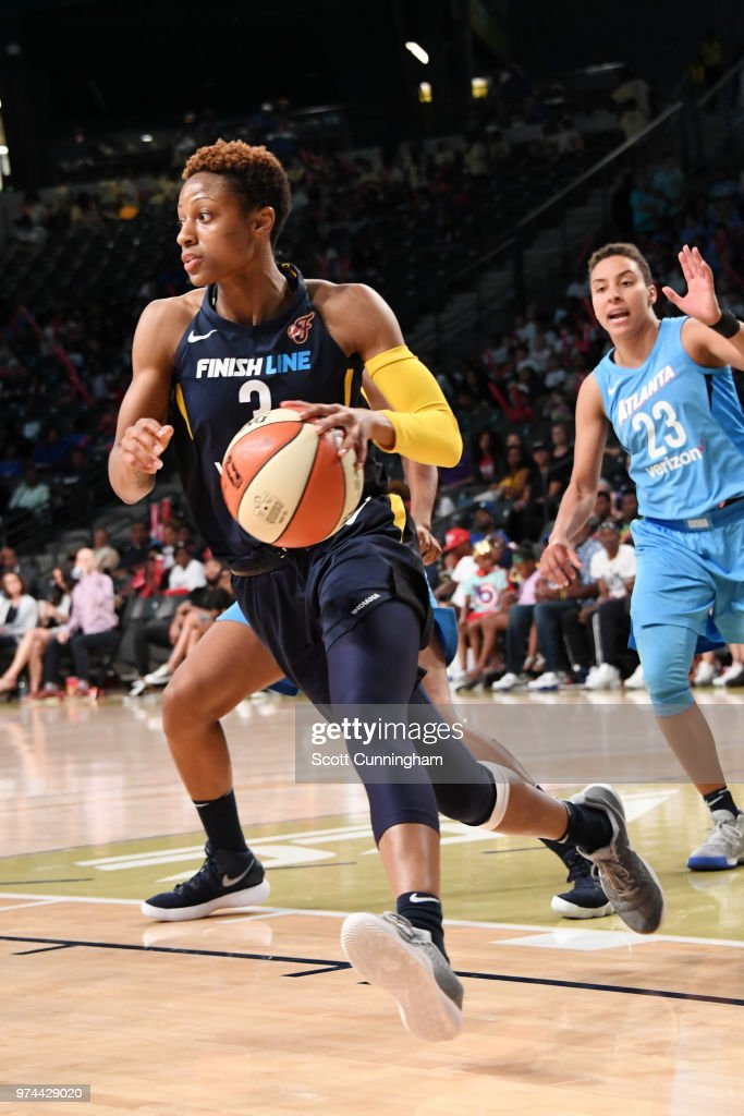 Tiffany Mitchell #3 of the Indiana Fever handles the ball against the Atlanta Dream on June 14, 2018 at Hank McCamish Pavilion in Atlanta, Georgia.