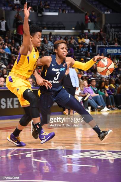 Head Coach Pokey Chatman of the Indiana Fever directs her team against the Los Angeles Sparks during a WNBA basketball game at Staples Center on June...
