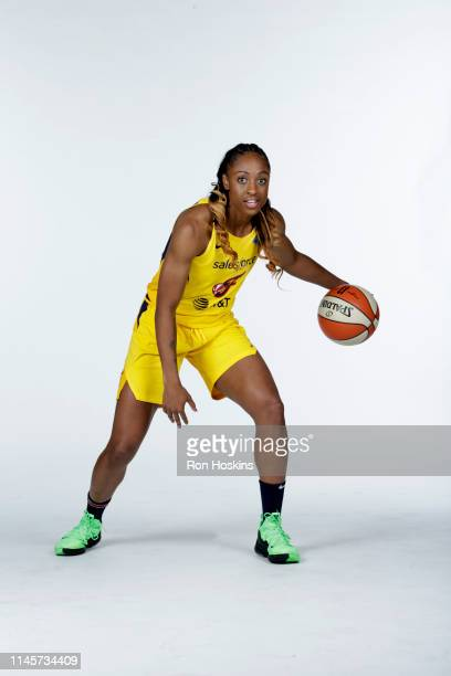 Tiffany Mitchell of the Indiana Fever poses for a portrait during the WNBA Media Day at Bankers Life Fieldhouse on May 20, 2019 in Indianapolis,...