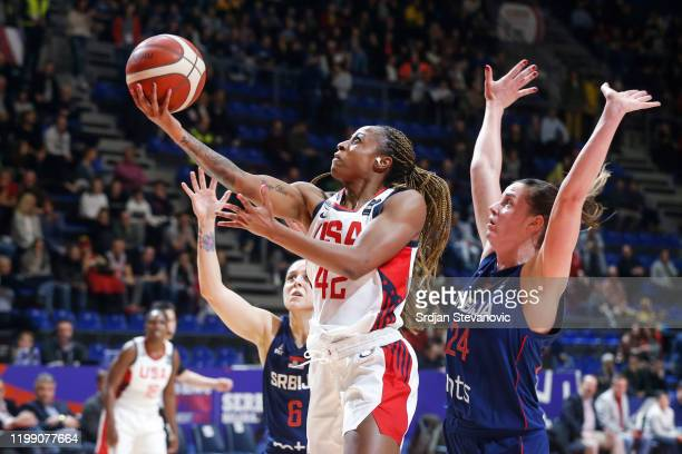 Tiffany Mitchell of USA in action against Maja Skoric of Serbia during the FIBA Women's Olympic Qualifying Tournament 2020 Group A match between USA...
