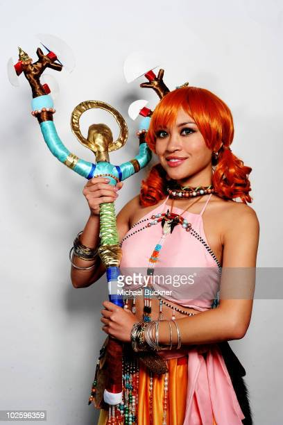 Tiffany Morales of Los Angeles Calif poses for a portrait outside Anime Expo 2010 at the Los Angeles Convention Center on July 2 2010 in Los Angeles...