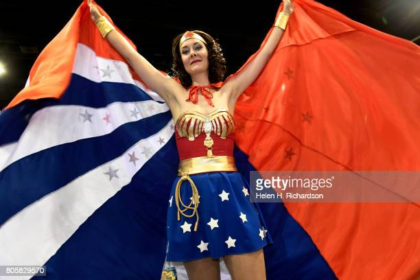 Tiffany Nemer shows off her Wonder Woman outfit inspired by the Lynda Carter Wonder Woman from 1975 during the 6th annual Denver Comic Con 2017 at...