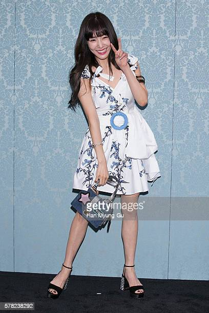 Tiffany of South Korean girl group Girls' Generation attends the opening event for the Miu Miu Cheongdam Boutique on July 20, 2016 in Seoul, South...