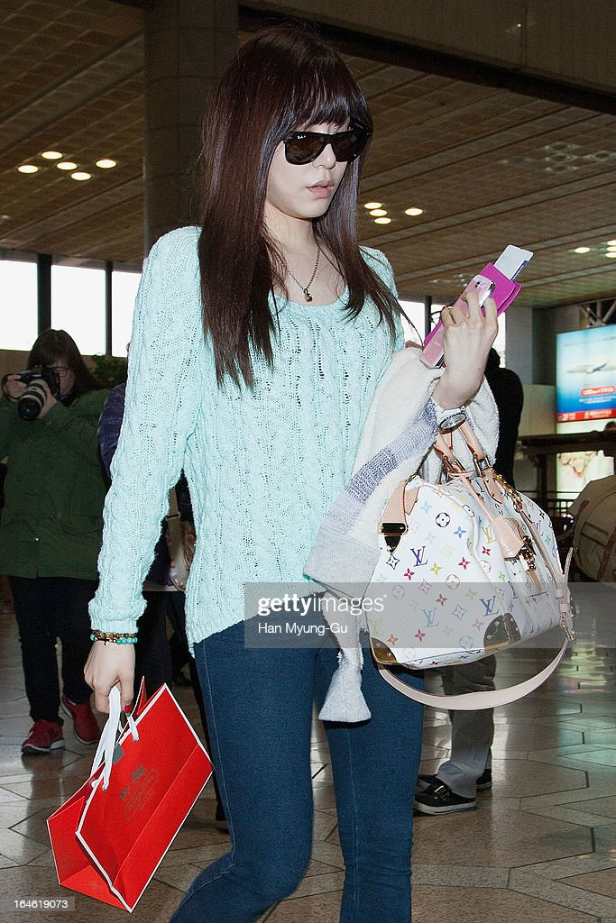 Tiffany of South Korean girl group Girls' Generation is seen on departure to Japan at Gimpo International Airport on March 25, 2013 in Seoul, South Korea.