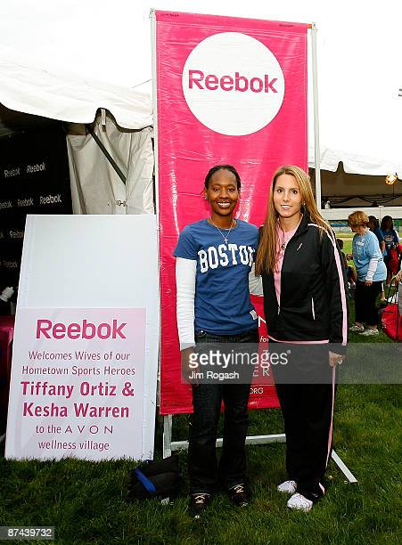 Tiffany Ortiz wife of David Ortiz of the Boston Red Sox and Kesha Warren wife of Ty Warren of the New England Patriots visit the Avon Walk for Breast...