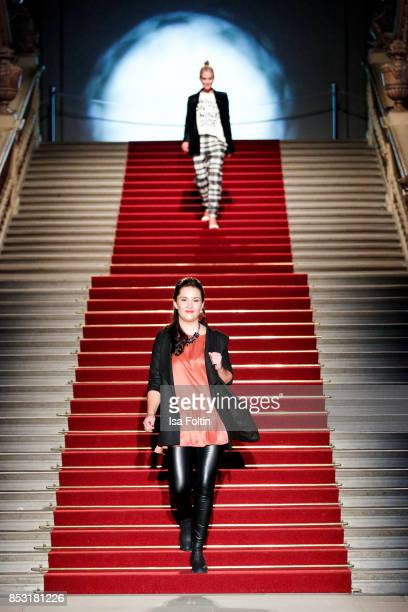 Tiffany Peach walks the runway during the Minx Fashion Night in favour of 'Sauti Kuu' of Auma Obama at Wuerzburger Residenz on September 23 2017 in...