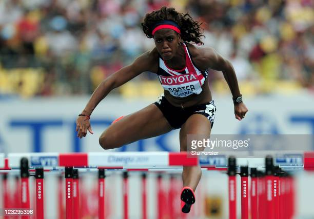 Tiffany Porter of Great Britain competes in the women's 100 metres hurdles heats during day seven of 13th IAAF World Athletics Championships at Daegu...
