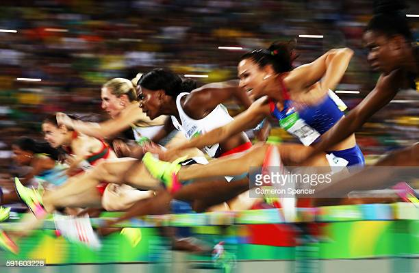 Tiffany Porter of Great Britain competes in the Women's 100m Hurdles Semifinals on Day 12 of the Rio 2016 Olympic Games at the Olympic Stadium on...