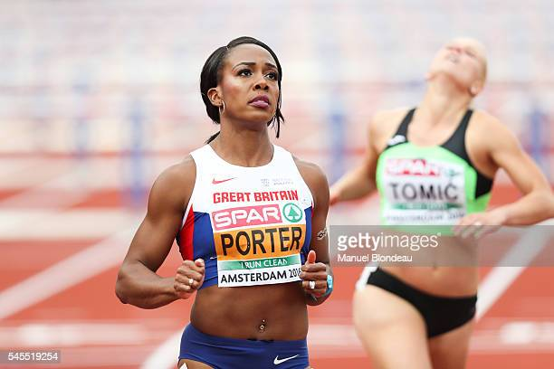 Tiffany Porter of Great Britain in action during the semi final of the women 100m hurdles during the European Athletics Championships at Olympic...