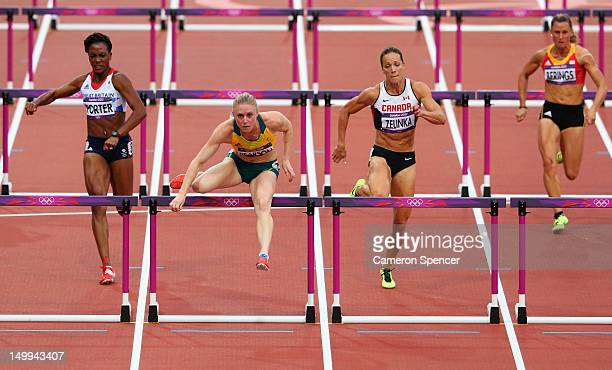 Tiffany Porter of Great Britain, Sally Pearson of Australia, Jessica Zelinka of Canada, Eline Berings of Belgium compete in the Women's 100m Hurdles...