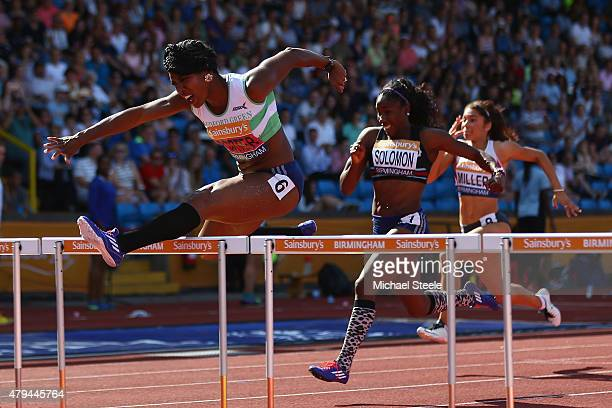 Tiffany Porter of Woodford Essex Ladies clears the last hurdle to win the Womem's 100m hurdles final during day two of the Sainsbury's British...