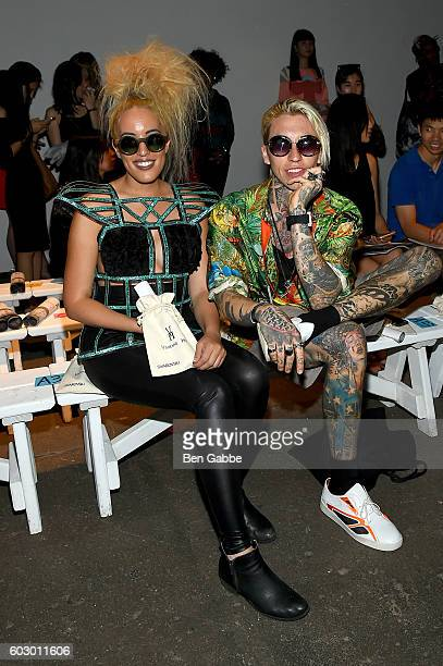 Tiffany Rae and Chris Lavish attend the Vivienne Hu Spring/Summer 2017 New York Fashion Week Runway Show during New York Fashion Week at Art Beam on...