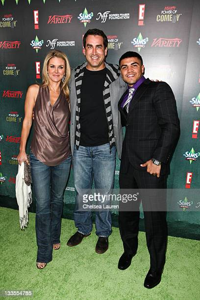Tiffany Riggle actor Rob Riggle and boxer Victor Ortiz arrive at Variety's Power of Comedy presented by The Sims 3 benefiting The Noreen Fraser...