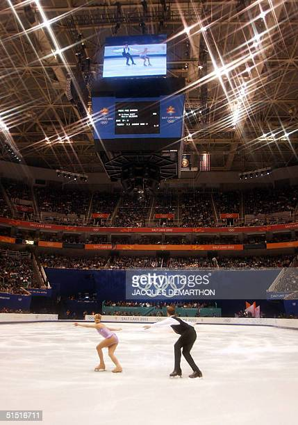 Tiffany Scott and Philip Dulebohn of the United States perform their pairs program at the Olympic Ice Center 11 Feruary 2002 during the XIXth Winter...