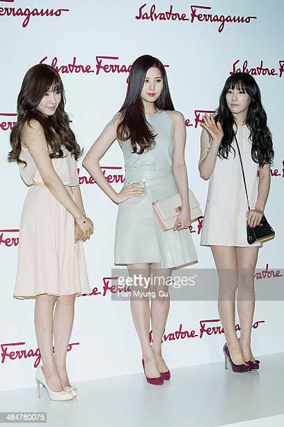 e2eabaf937 Tiffany Seohyun and Taeyeon of South Korean girl group Girls  Generation  attend the Salvatore Ferragamo