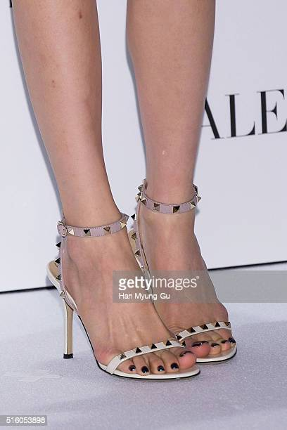 Tiffany shoe detail of South Korean girl group Girls' Generation attends the photocall for VALENTINO Hawaiian Couture Capsule Collection at...