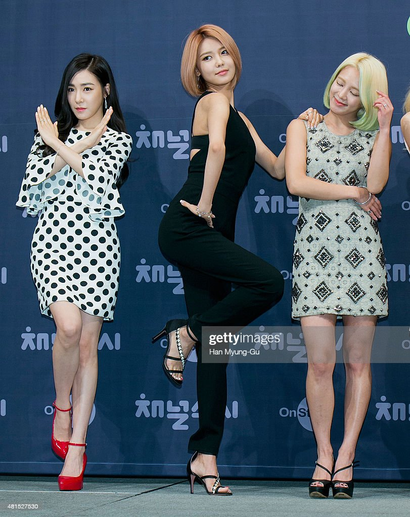 Tiffany, Sooyoung and Hyoyeon of South Korean girl group Girls' Generation attend the OnStyle 'Channel SNSD' Press Conference at Imperial Palace Hotel on July 21, 2015 in Seoul, South Korea. The program will open on July 21, in South Korea.