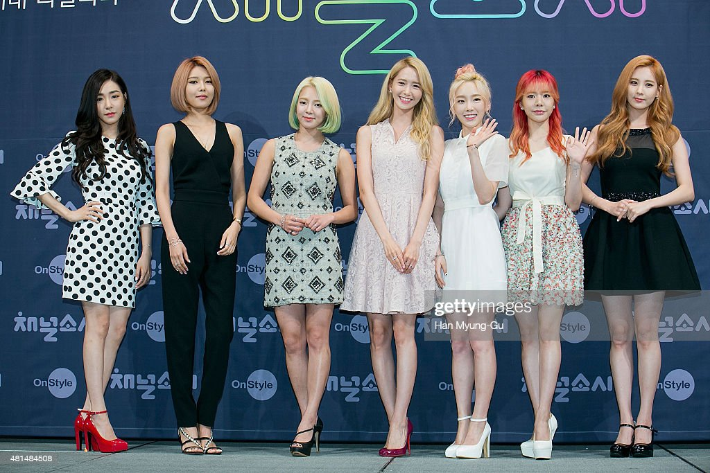 Tiffany, Sooyoung, Hyoyeon, Yoona, Taeyeon, Sunny and Seohyun of South Korean girl group Girls' Generation attend the OnStyle 'Channel SNSD' Press Conference at Imperial Palace Hotel on July 21, 2015 in Seoul, South Korea. The program will open on July 21, in South Korea.