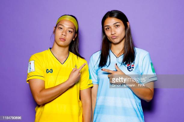 Tiffany Sornpao and Miranda Nild of Thailand pose for a portrait during the official FIFA Women's World Cup 2019 portrait session at Grand Hotel...