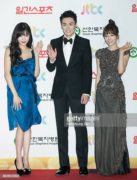 Tiffany Taeyeon of South Korean girl group Girls' Generation and TV personality Oh SangJin attend the 28th Golden Disk Awards at Kyunghee University...